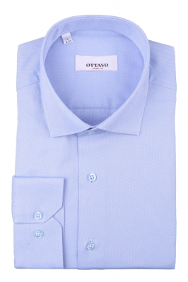Стильная мужская однотонная рубашка голубого цвета, длинный рукав (Арт. T 4388)