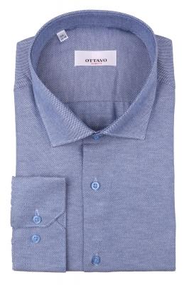 Стильная мужская однотонная рубашка синего цвета, длинный рукав (Арт. T 4389)