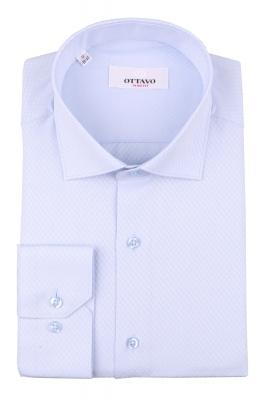 Стильная мужская рубашка голубого цвета, длинный рукав (Арт. T 4393)