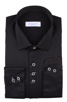 Рубашка мужская приталенная цвет чёрный, длинный рукав (Арт. T 4430)