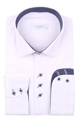Рубашка мужская приталенная цвет белый, длинный рукав (Арт. T 4431)