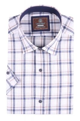Стильная мужская рубашка в клетку, короткий рукав (Арт. T 4483К)