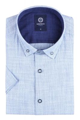 Стильная однотонная мужская рубашка, короткий рукав (Арт. T 4565К)