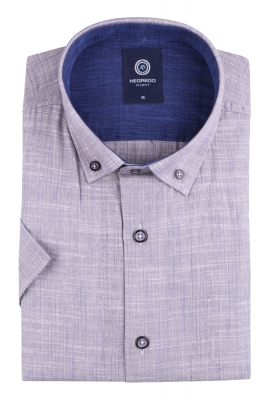 Стильная однотонная мужская рубашка, короткий рукав (Арт. T 4566К)