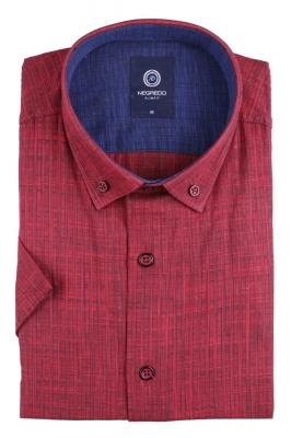 Стильная однотонная мужская рубашка, короткий рукав (Арт. T 4567К)