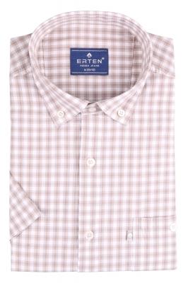 Рубашка мужская классика в клетку, короткий рукав (Арт. T 4574К)