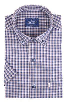 Рубашка мужская классика в клетку, короткий рукав (Арт. T 4584К)