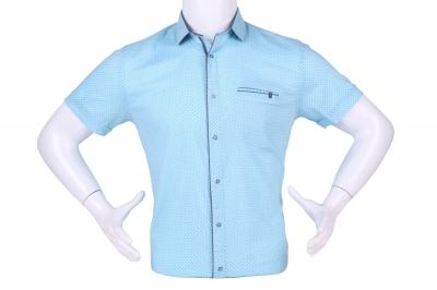 Рубашка мужская приталенная в мелкий рисунок, короткий рукав (Арт. T 4599К)