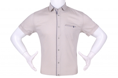Рубашка мужская приталенная в мелкий рисунок, короткий рукав (Арт. T 4601К)