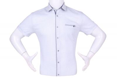 Рубашка мужская приталенная в мелкий рисунок, короткий рукав (Арт. T 4603К)