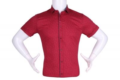 Рубашка мужская приталенная в мелкий рисунок, короткий рукав (Арт. T 4605К)