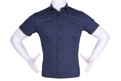 Рубашка мужская приталенная в мелкий рисунок, короткий рукав (Арт. T 4607К)