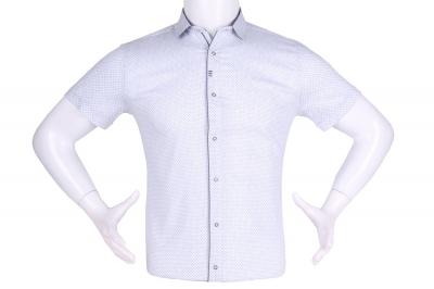 Рубашка мужская приталенная в мелкий рисунок, короткий рукав (Арт. T 4608К)