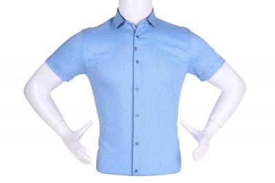 Рубашка мужская приталенная в мелкий рисунок, короткий рукав (Арт. T 4609К)