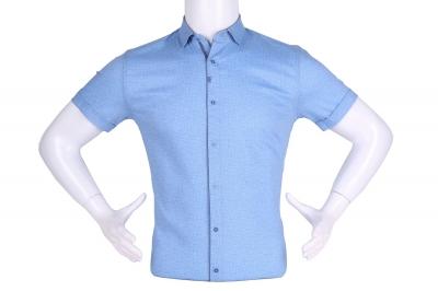 Рубашка мужская приталенная в мелкий рисунок, короткий рукав (Арт. T 4612К)