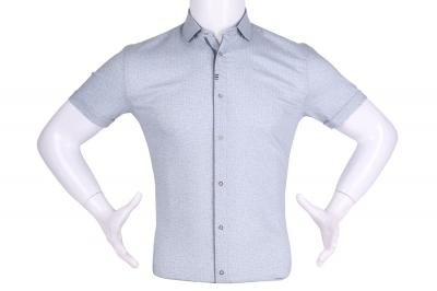 Рубашка мужская приталенная в мелкий рисунок, короткий рукав (Арт. T 4613К)