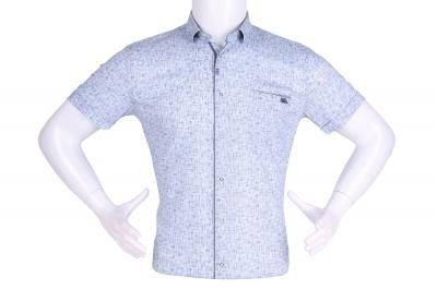 Рубашка мужская приталенная в мелкий рисунок, короткий рукав (Арт. T 4631К)