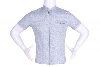 Рубашка мужская приталенная, воротник стойка, в мелкий рисунок, короткий рукав (Арт. T 4637К)