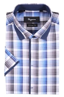 Рубашка мужская приталенная в клетку, короткий рукав (Арт. SDK 4045K)