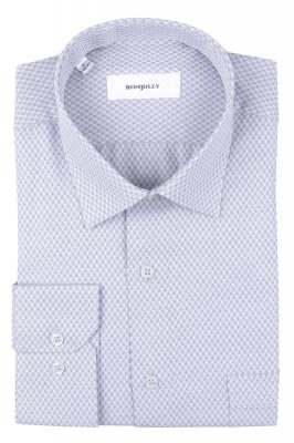 Рубашка мужская классика в клетку, длинный рукав (Арт. T 4689)