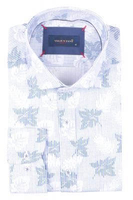 Рубашка мужская приталенная в рисунок, длинный рукав (Арт. T 4720)