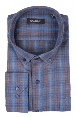 Рубашка мужская классика в клетку, длинный рукав (Арт. T 4746 В)