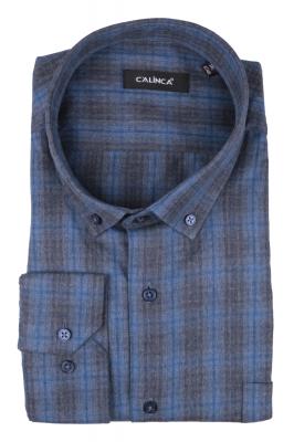 Рубашка мужская классика в клетку, длинный рукав (Арт. T 4747 В)