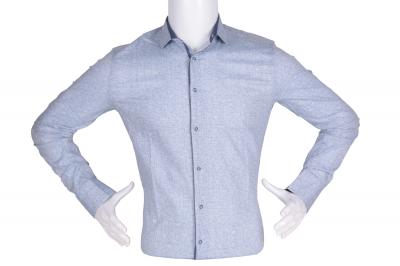 Рубашка мужская приталенная в мелкий рисунок, длинный рукав (Арт. T 4789)