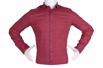 Рубашка мужская приталенная в мелкий рисунок, длинный рукав (Арт. T 4808)