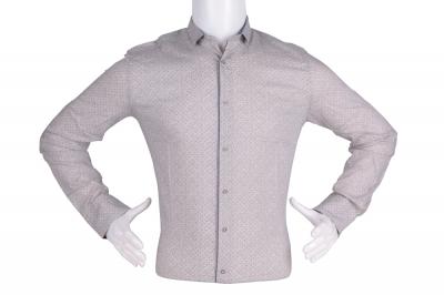 Рубашка мужская приталенная в мелкий рисунок, длинный рукав (Арт. T 4811)