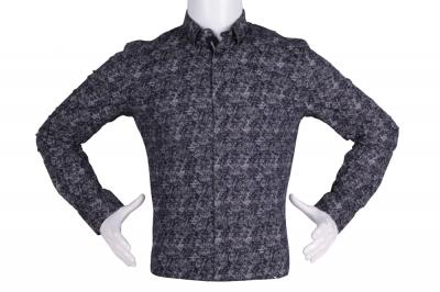 Рубашка мужская приталенная в мелкий рисунок, длинный рукав (Арт. T 4821)