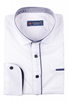 Детская однотонная рубашка с окантовкой по планке, длинный рукав (Арт. TB 4832)