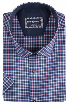 Мужская стильная рубашка в клетку, короткий рукав (Арт. T 5281ВК)