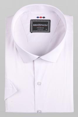 Мужская стильная однотонная рубашка, короткий рукав (Арт. T 5278ВК)