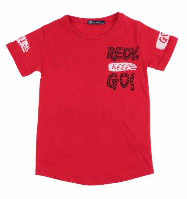 Футболка детская красная с принтом (Арт. DFO4877)