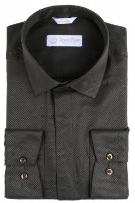 Angelo Roma Рубашка мужская жаккард цвет темно зеленый (Арт. Т 5368)