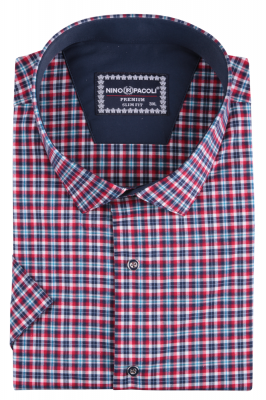 Мужская стильная рубашка в клетку, короткий рукав (Арт. T 5280ВК)