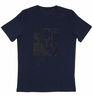 Футболка тёмно синяя с принтом (Арт. FO 4940)