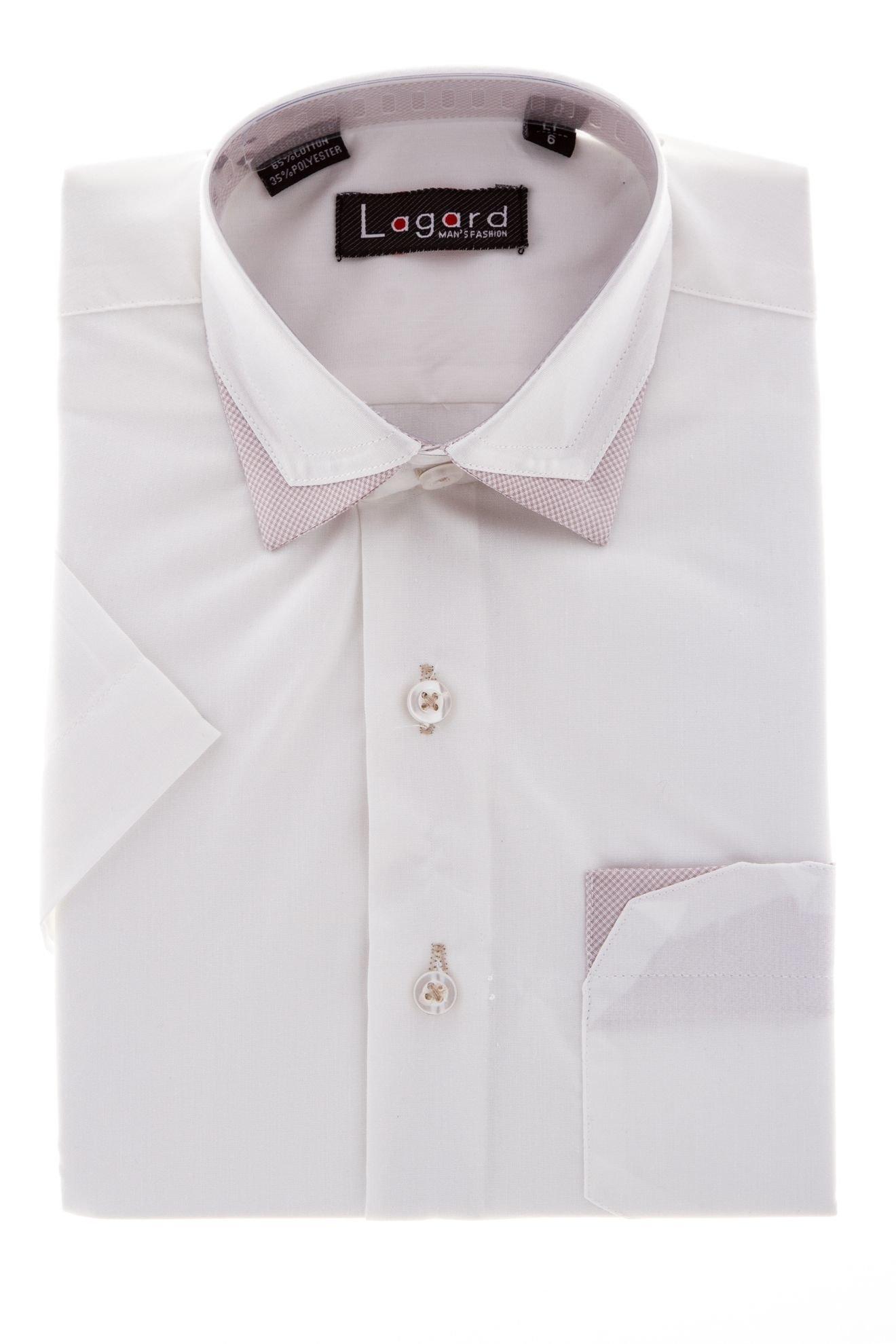 Детская однотонная рубашка с декоративным воротником (Арт. B SKY 1161K)