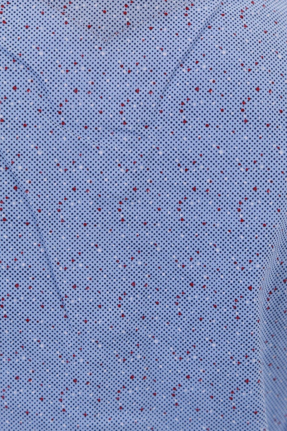 Детская рубашка в мелкий рисунок с декоративной планкой (Арт. TB 1279K)