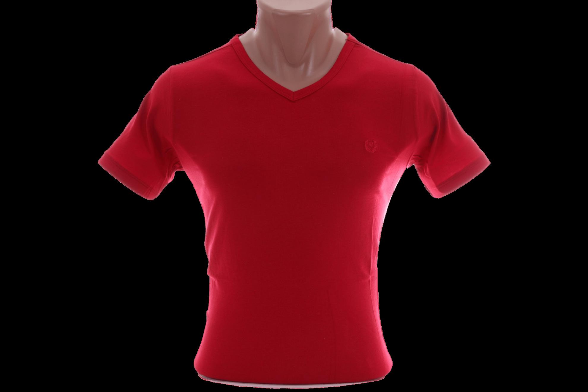 Футболка однотонная красная с v-образным воротником (Арт. F-008K)