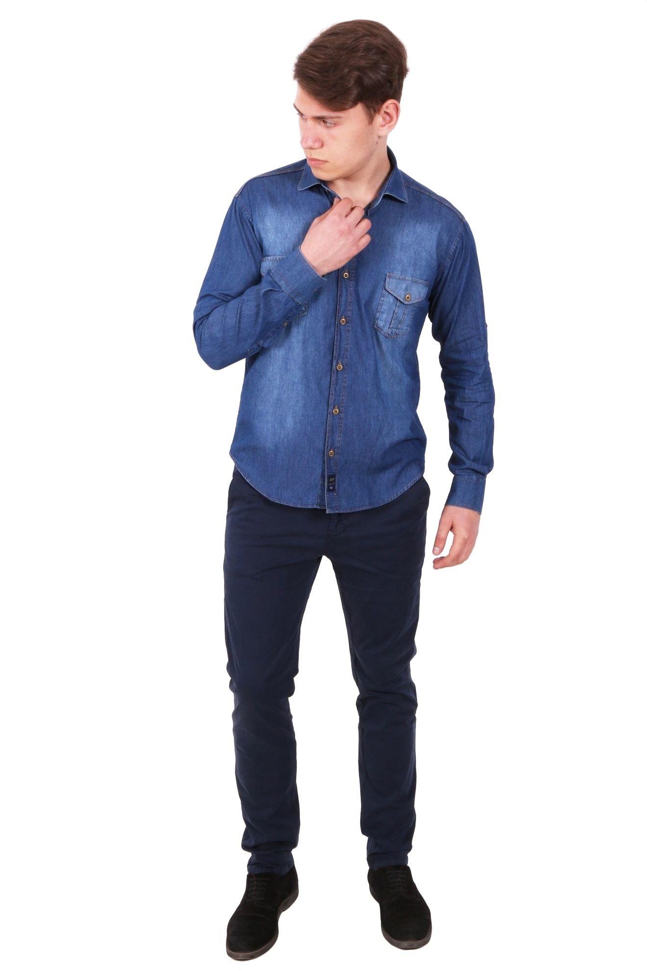 Джинсовая рубашка с рукавом трансформером (Арт. Т 2080)