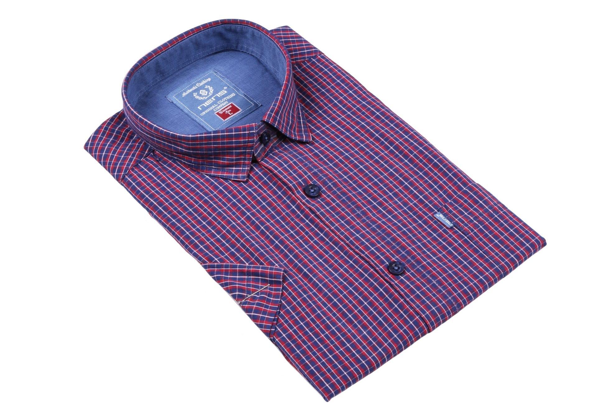 Клетчатая рубашка с коротким рукавом (Арт. T 2313K)