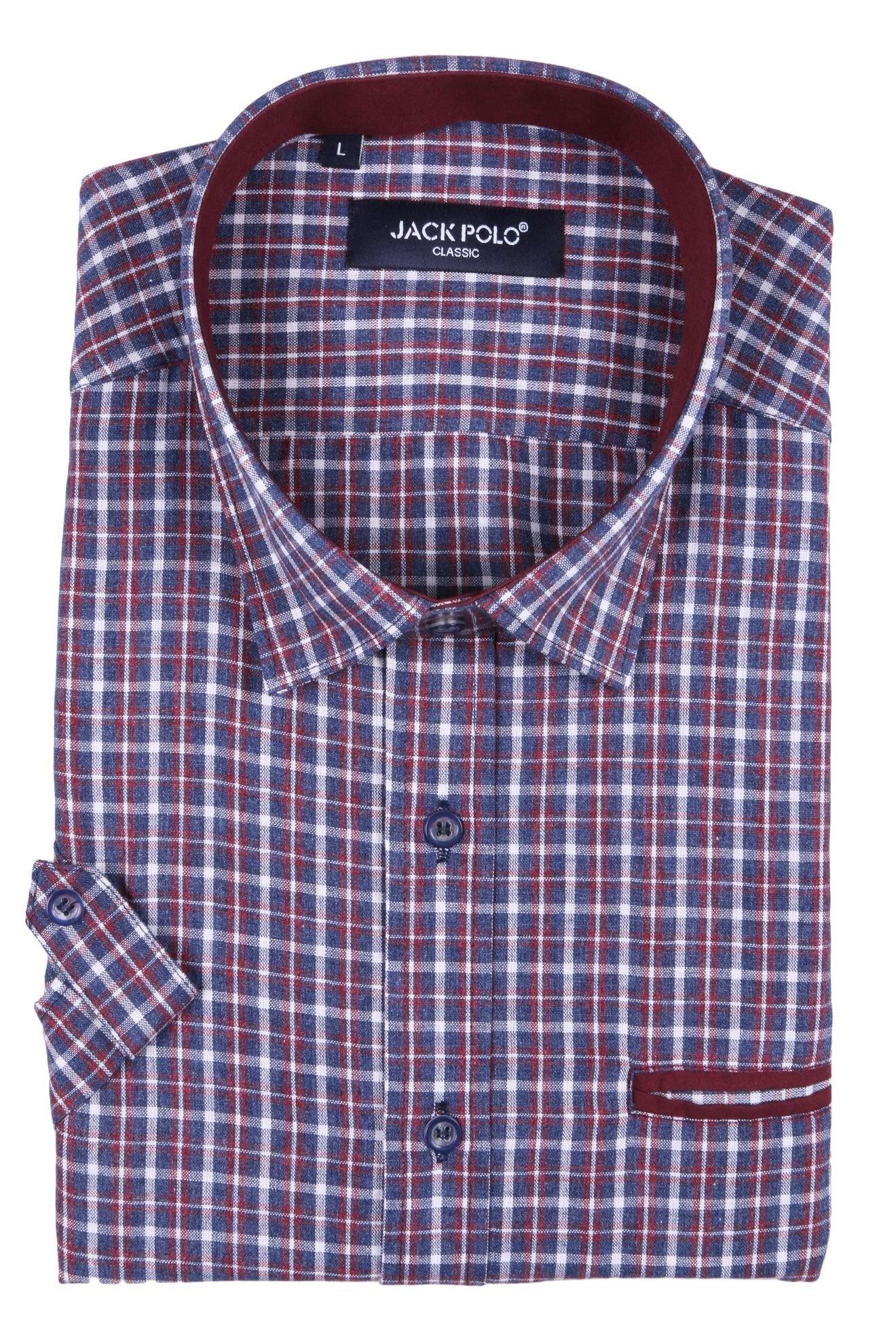 Классическая рубашка в клетку с коротким рукавом (Арт. T 2336K)
