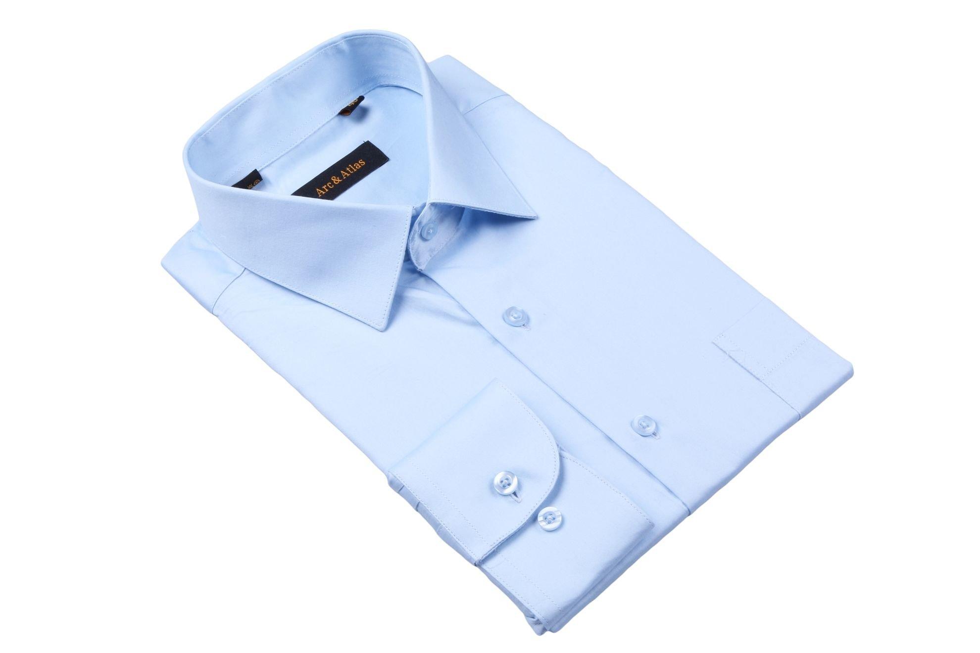 Рубашка мужская классика однотонная цвет голубой с длинным рукавом (Арт. OD-003)