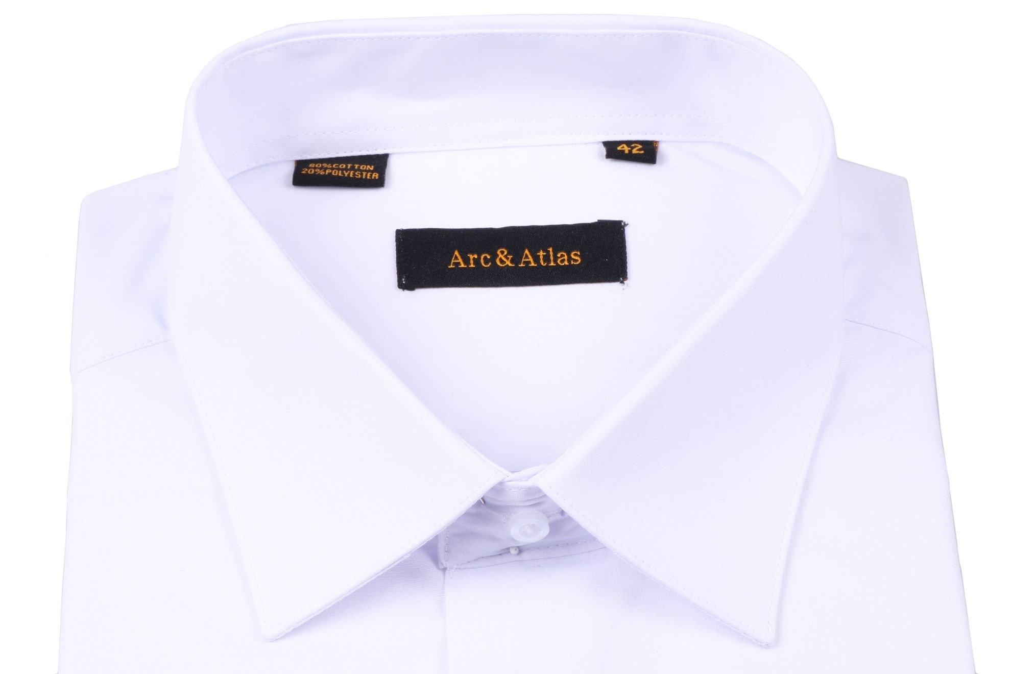 Рубашка мужская классика однотонная цвет белый с длинным рукавом  (Арт. OD-005)