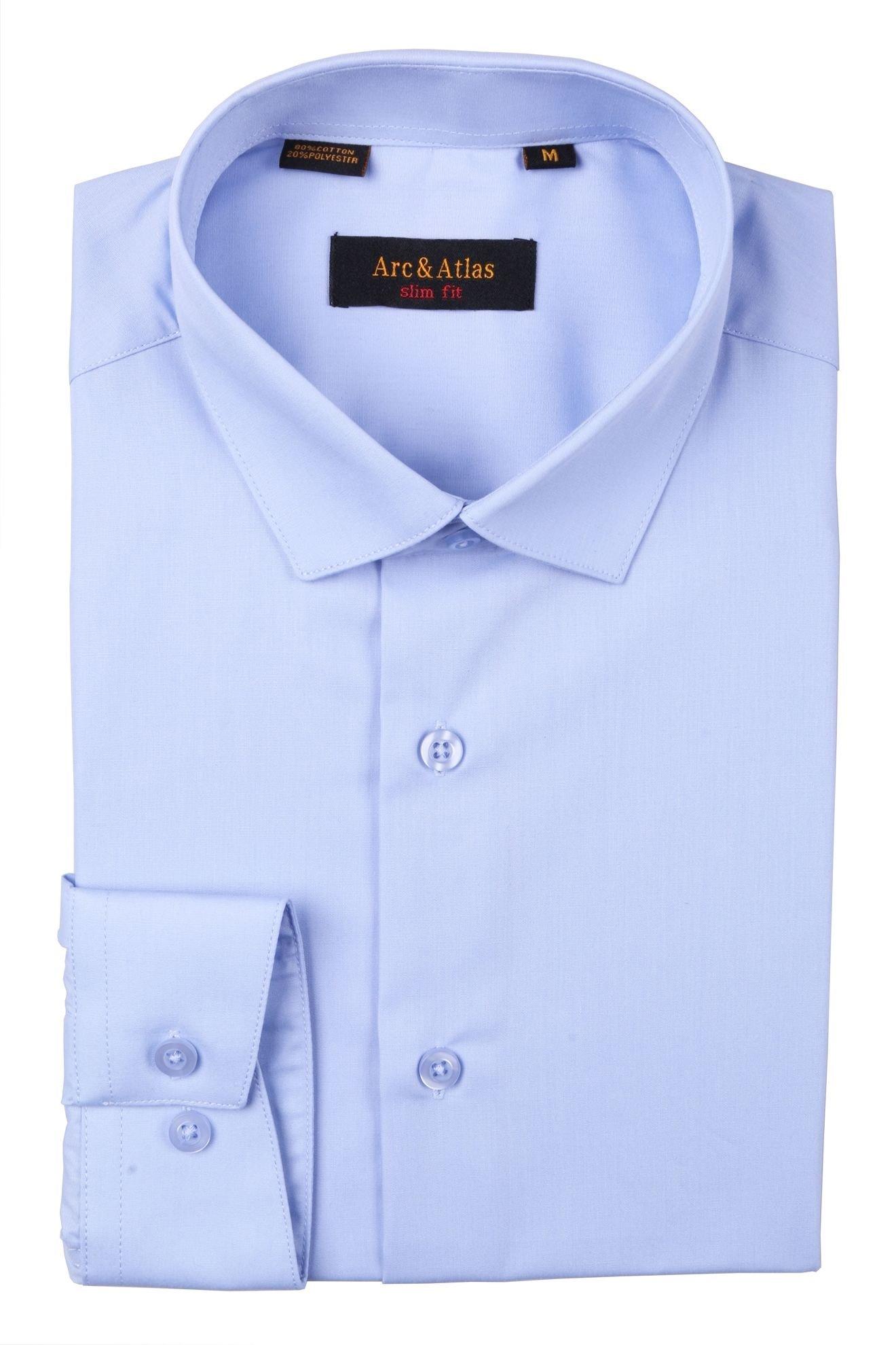 Рубашка мужская приталенная однотонная цвет голубой длинный рукав slim-fit  (Арт. OD-017)