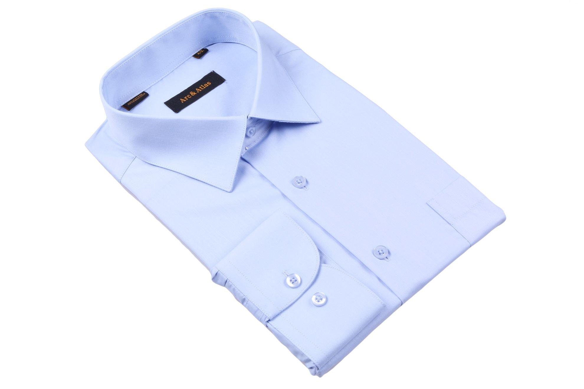 Рубашка мужская классика однотонная цвет голубой с длинным рукавом  (Арт. OD-006)
