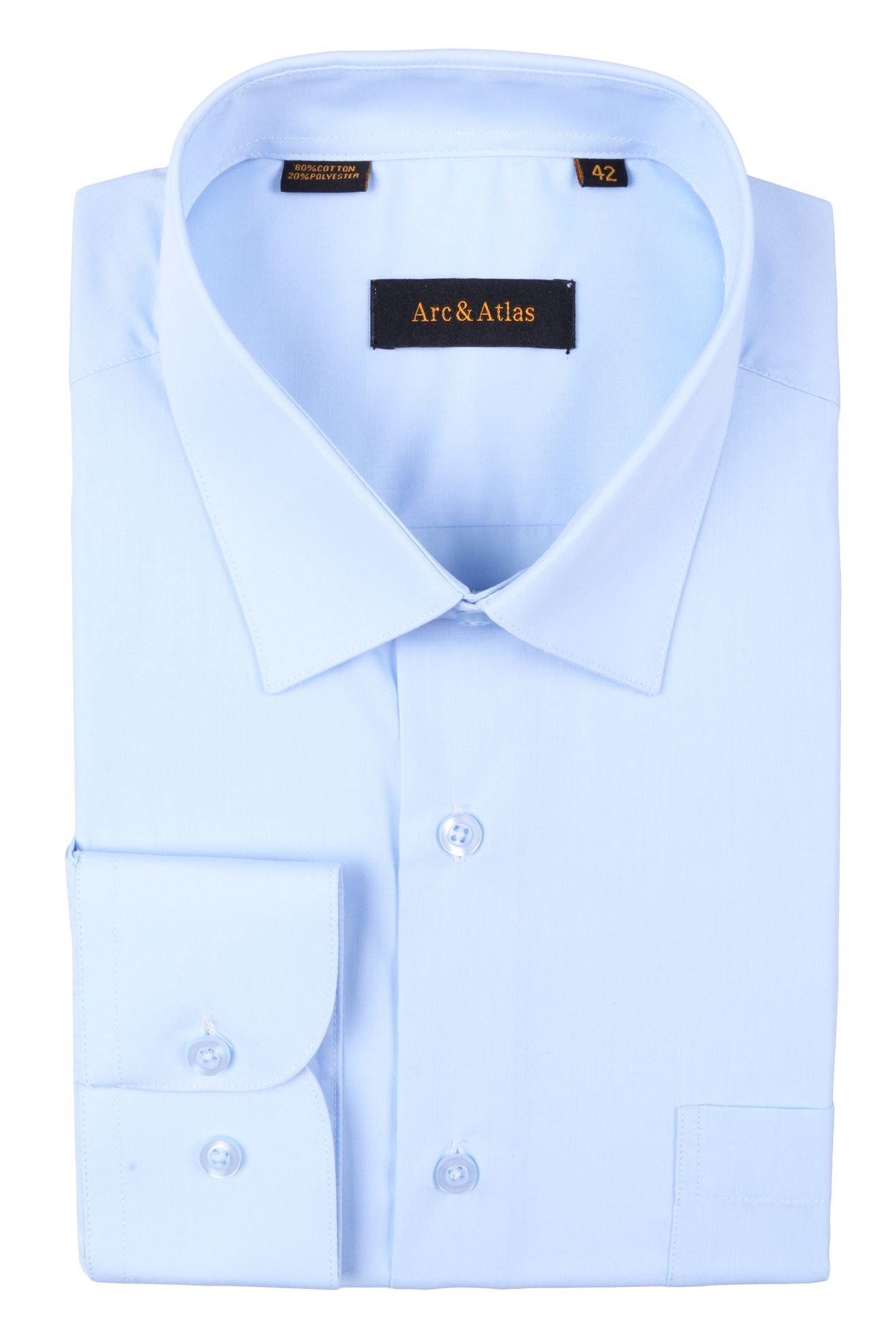 Рубашка мужская классика однотонная цвет голубой с длинным рукавом  (Арт. OD-007)