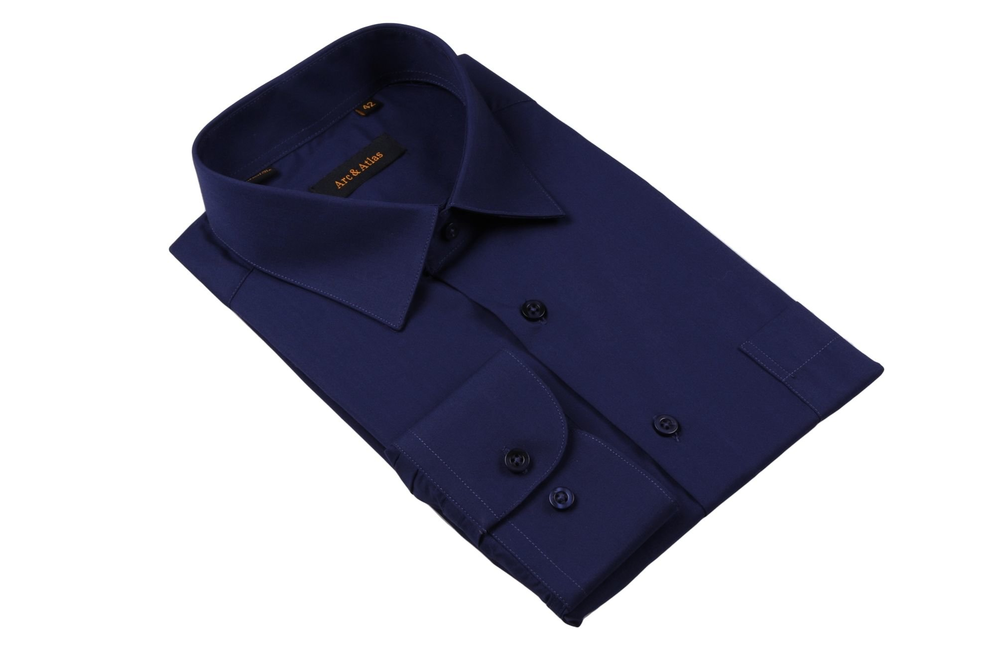 Рубашка мужская классика однотонная цвет темно синий с длинным рукавом (Арт. OD-010)